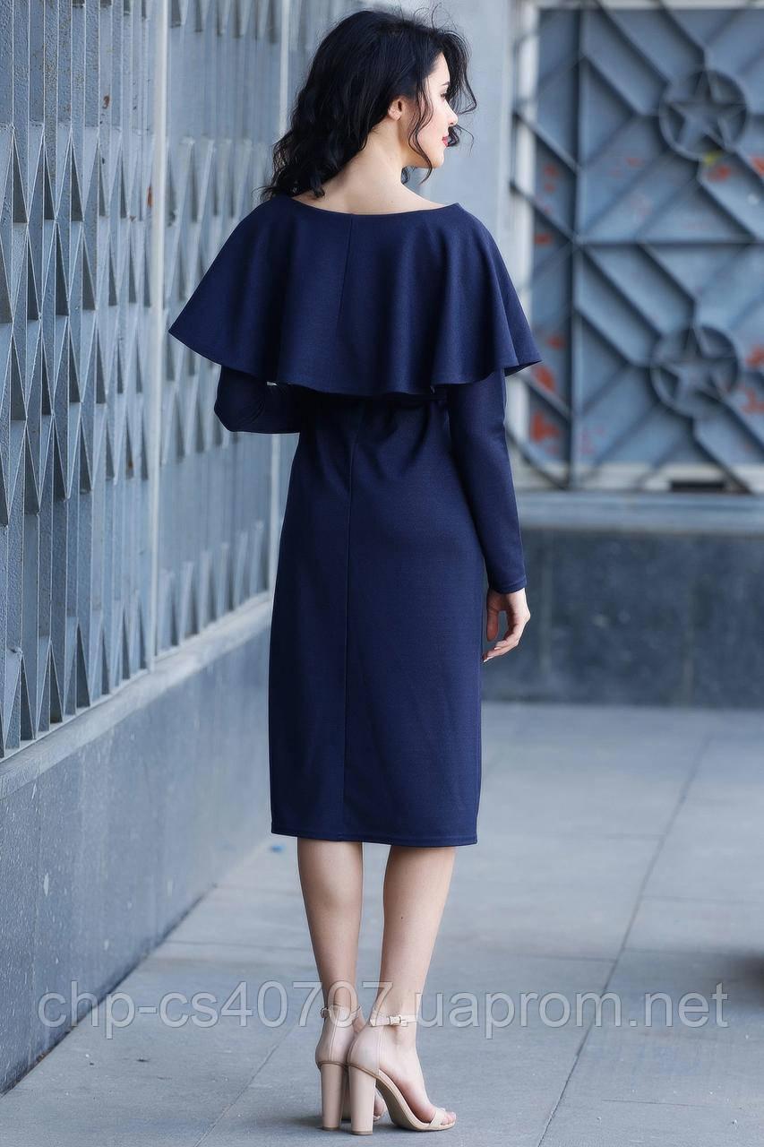 2e823151a4f1b40 ... Синее платье Tiana из трикотажа с воланом на плечах и длинным рукавом,  ...