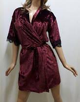 Бархатный  халат с красивым чёрным французским кружевом , от 44 до 52р-ра бордо, фото 3
