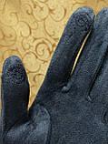 Замш+Замш с сенсором тонкий женские перчатки для работы на телефоне плоншете ANJELA стильные только оптом, фото 4