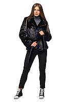 Полушубок женский из искусственного меха французской фабрики Tissavel (Франция) черного цвета- тренд сезона