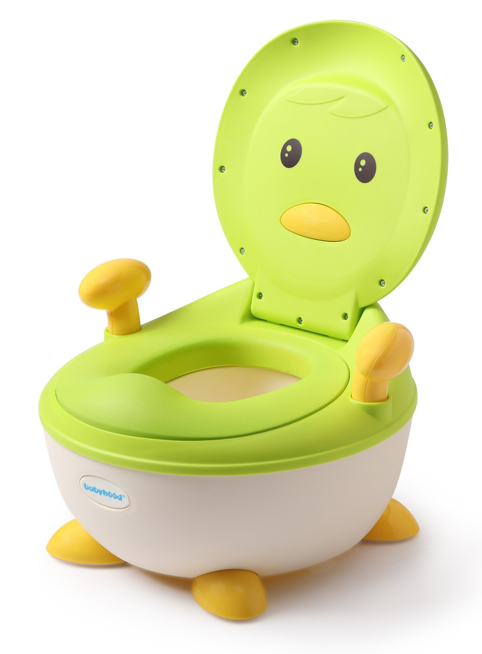 Детский горшок Пингвин с полиуретановым кольцом Babyhood зеленый (BH-113PG)