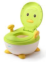Детский горшок Пингвин с полиуретановым кольцом Babyhood зеленый (BH-113PG), фото 1