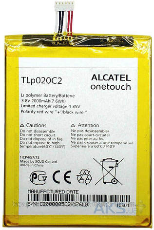 Аккумулятор Alcatel One Touch 6040 Idol X / TLP020C2 / 2000 mAh / Оригинал, фото 2