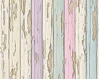 Обои с 3д изображением настоящих досок, покрытых состаренной краской 958832