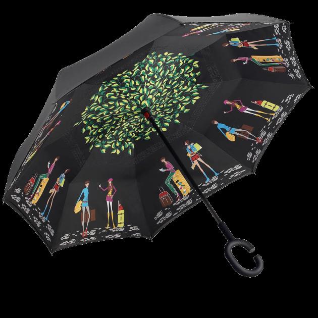 Зонт наоборот, зонт обратного сложения, ветрозащитный зонт Up-Brella, антизонт