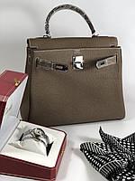 Женская сумка Гермес Келли 28 см натуральная кожа (реплика), фото 1