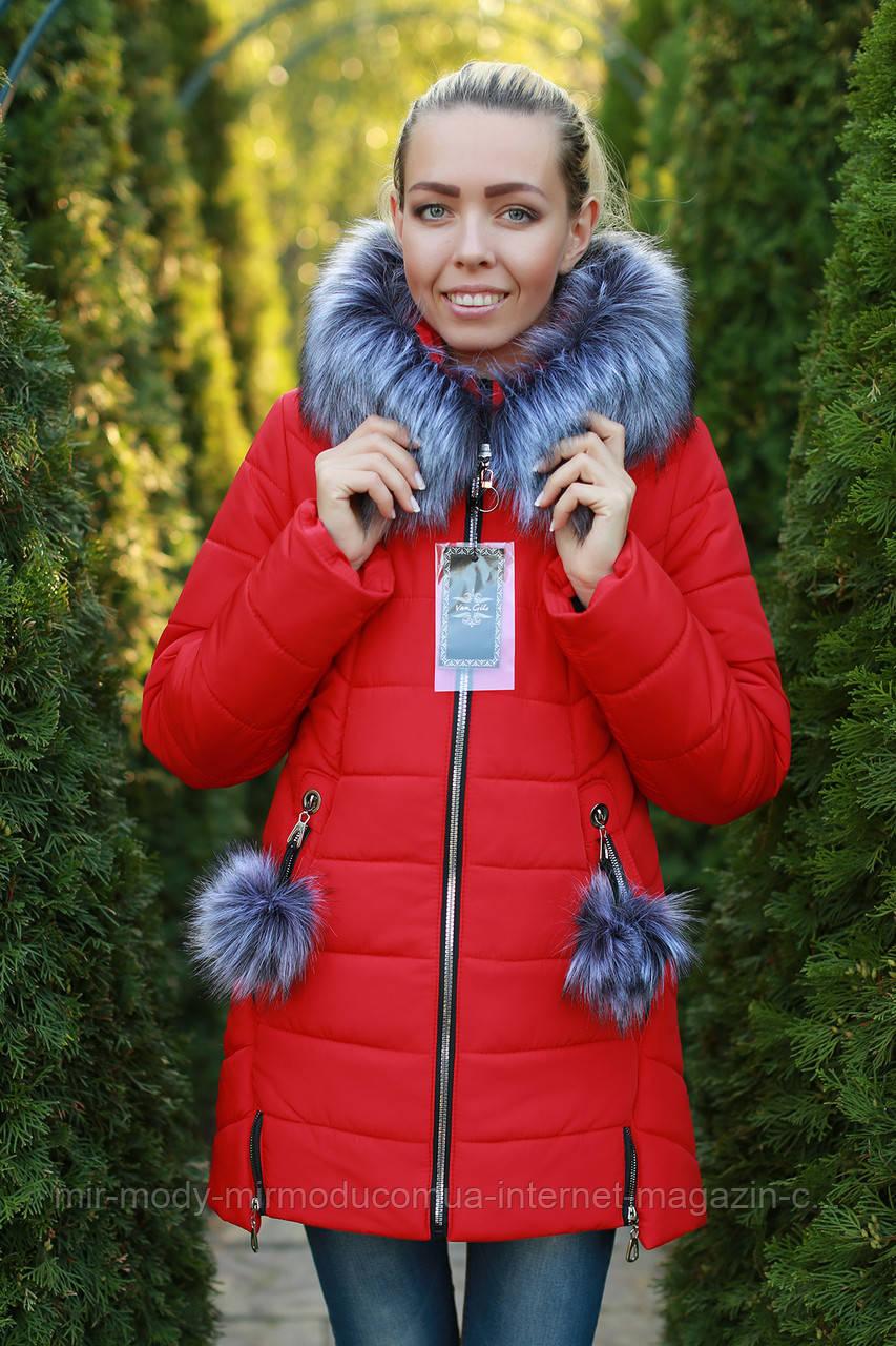 Зимняя женская куртка с мехом теплая стильная  c 42 по 52 размер (modnyst)