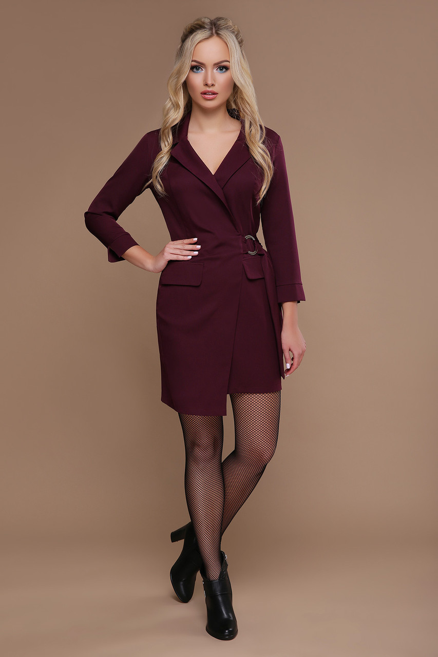 Стильна жіноча сукня на запах в діловому стилі з креп-костюмки