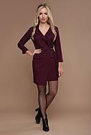 Стильна жіноча сукня на запах в діловому стилі з креп-костюмки, фото 1