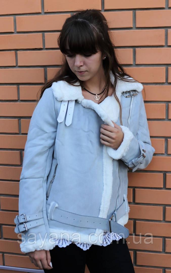Женская куртка из замша на меху с поясом и декором в расцветках. БР-6-0918