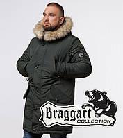 Мужская куртка на зиму с опушкой Braggart 91660 хаки