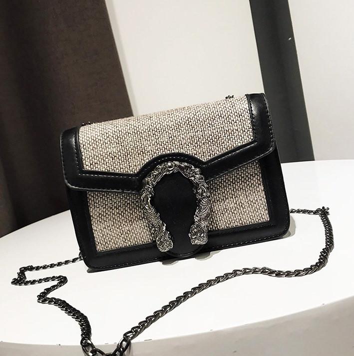 bc8cc22dca3e Маленькая женская сумочка черная из экокожи на цепочке купить по ...