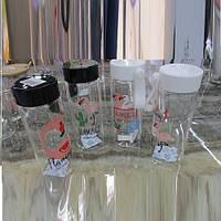 """Бутылочка для жидкости R84874 """"Фламинго"""" белая и черная крышка, банка, баночка для воды, бутылка для жидкости"""