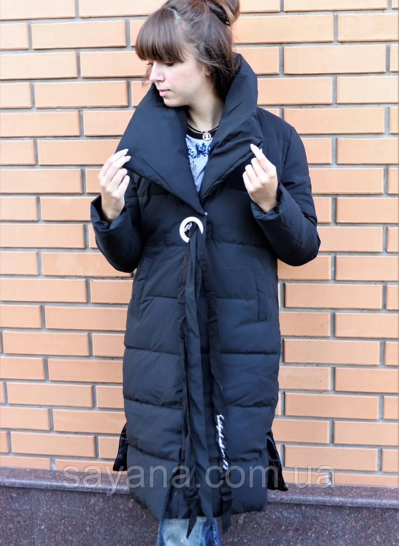 Женское теплое пальто-плащ с декором. БР-9-0918