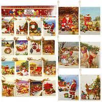 """Открытка-малышка """"Рождество"""" R87343 бумага, 9.5*6.5см, в наборе 128шт, открытки, поздравительные открытки, открытки ручной работы"""