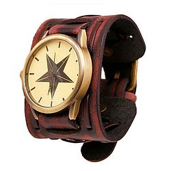 Годинник зі шкіряним ремінцем (зірка) [бордові]