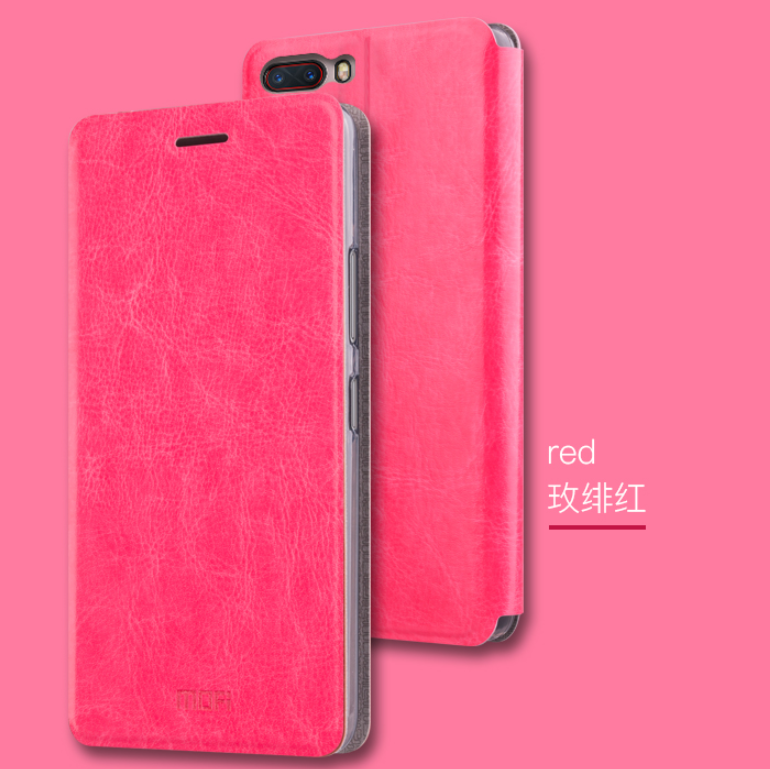 Умный (Smart) чехол-книжка MOFI Rui Series для ZTE Nubia M2  (NX551J) / Розовый / Стекла /