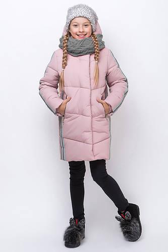 Детское зимнее пальто для девочки со снудом ZKD-7,  122-164