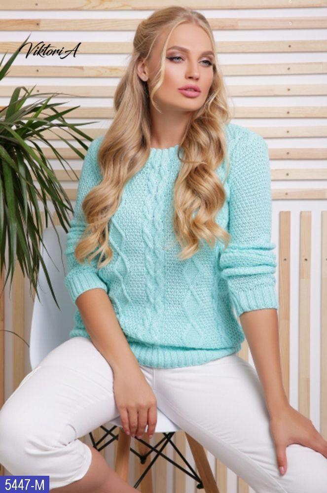Женский шерстяной свитер большого размера. Размер: 48-54