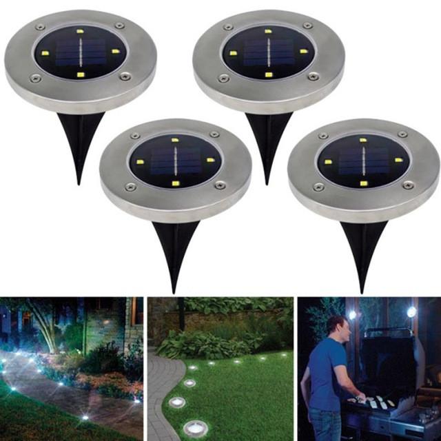 4 Светильника на солнечных батареях Disk lights - 4 штуки В Комплекте