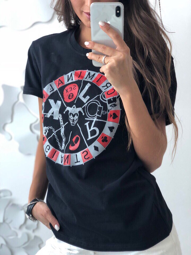 Женская футболка «CRIMINAL» в расцветках. ЛД-5-0918
