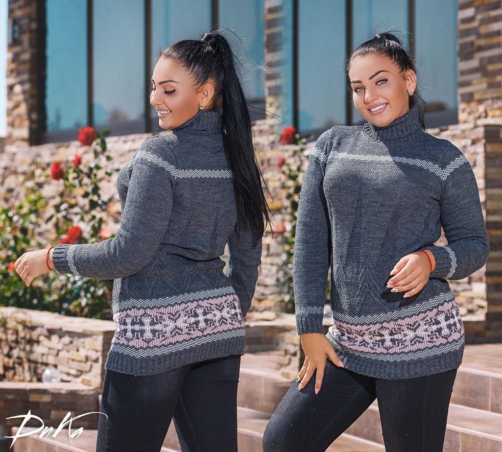 Женская вязанный свитер туника