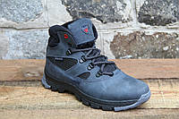 Зимняя детская спортивная обувь из натуральной кожи WALKER 0033 синий крейзи