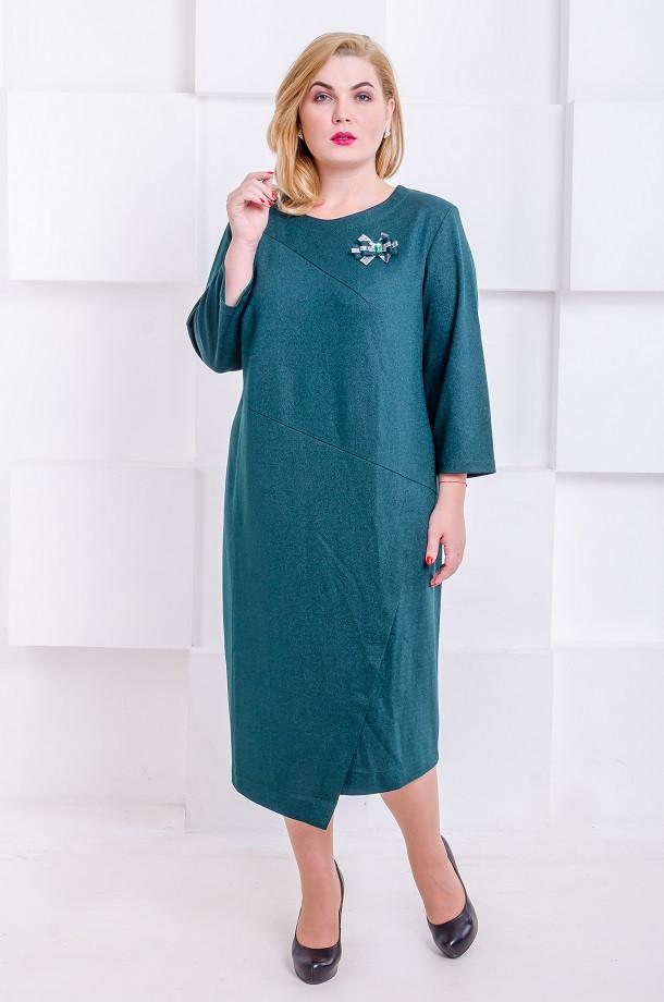 Элегантное платье размер плюс  Ingrid малахит  (60-66)
