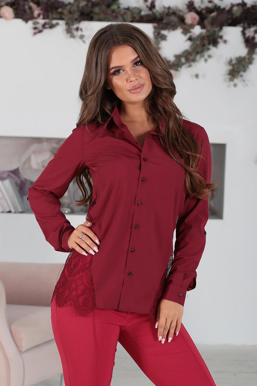 Дания бордовая Рубашка с кружевом