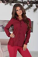 Дания бордовая Рубашка с кружевом, фото 1