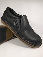 Ecco туфли boston's comfort на резинке из натуральной кожи реплика чёрный (boston-T1-rezinka)