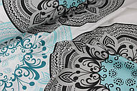 """Ткань хлопковая   купон """"Турецкий орнамент """" бирюзового и серого-черного цвета  №1209"""