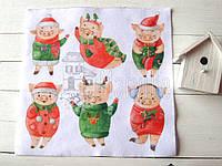 """Фетр мягкий с рисунком """"Новогодние свинки. Акварель"""" 20х20см"""