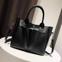 Женская сумка большая черная из экокожи, фото 1