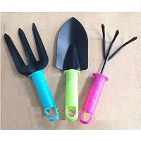 Садовий набір R87519 в упаковці 3предмета, пластик / метал, різні кольори ручок, садові набори, лопатка садові, садовий набір туристу, сад і город