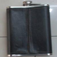 Фляга сувенірна R86722 чорний, обсяг 513мл, нержавіюча сталь / штучна шкіра, фляги, подарункові фляги, фляжки, набір з флягою