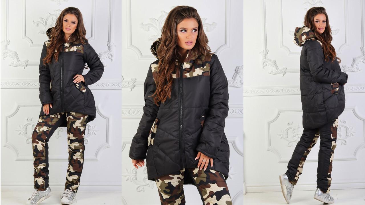 Зимний прогулочный костюм на синтепоне: куртка бочонок и штаны принт камуфляж