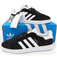 Черные мужские и женские кроссовки Adidas Gazelle Адидас Газель. р.(41)