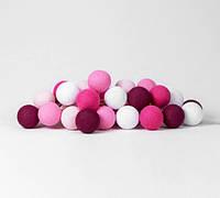 "Тайская LED-гирлянда ""Pink"" (10 шариков) на батарейках, фото 1"