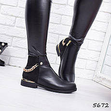 """Ботинки, ботильоны черные """"Golden weky"""" эко кожа, повседневная, демисезонная, осенняя, женская обувь, фото 2"""