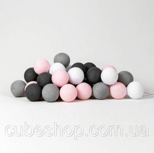 "Тайская LED-гирлянда ""Pink-grey"" (20 шариков) на батарейках"