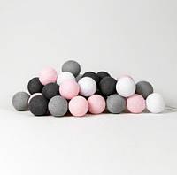 "Тайская LED-гирлянда ""Pink-grey"" (20 шариков) на батарейках, фото 1"