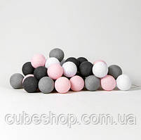 """Тайская гирлянда """"Pink-grey"""" (20 шариков) петля"""