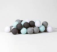 """Тайская LED-гирлянда """"Aqua-grey"""" (20 шариков) на батарейках, фото 1"""