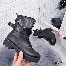"""Ботинки, ботильоны черные ЗИМА """"Moschi"""" пресс-кожа, повседневная, зимняя, теплая, женская обувь, фото 3"""