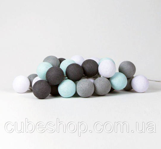 "Тайская LED-гирлянда ""Aqua-grey"" (10 шариков) на батарейках"