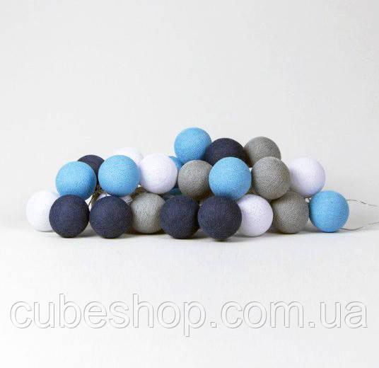 "Тайская LED-гирлянда ""Sailor blue"" (20 шариков) на батарейках"