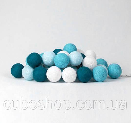 """Тайская LED-гирлянда """"Aqua"""" (10 шариков) на батарейках"""