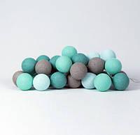 """Тайская LED-гирлянда """"Mint"""" (20 шариков) на батарейках, фото 1"""