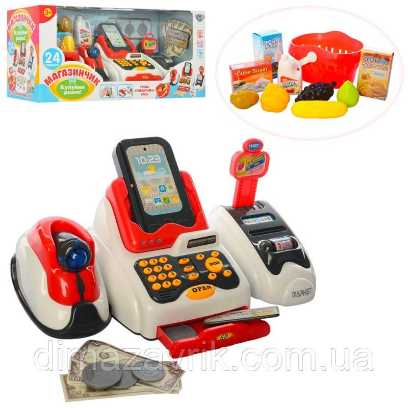 Кассовый аппарат 668-48сканнер, звук, свет,  продукты, корзинка, на бат, в кор-ке 43,5-21-17 см